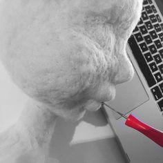 how to needle felt a doll head by kukalka.com