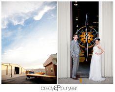 Planes of Fame Museum Wedding   Janice and Tom    weddings    Vintage Dress Red lips Airplane hangar wedding
