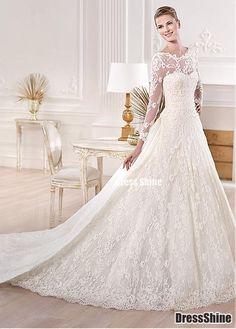 I like this - Charming A-line Illusion Bateau Neckline Raised Waist Chapel Tran Lace Wedding Dress. Do you think I should buy it?