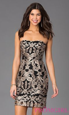 Short Strapless Lace Dress at PromGirl.com