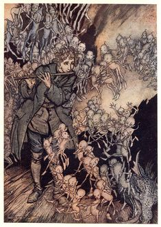 """Arthur Rackham The Gnomes: """"He played until the room was entirely filled with gnomes."""""""