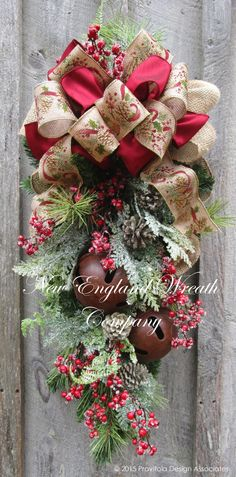 Berkshires Holiday Swag ~A New England Wreath Company Designer Original~ Más Christmas Swags, Christmas Door, Country Christmas, Outdoor Christmas, Holiday Wreaths, Christmas Holidays, Christmas Decorations, Christmas Ornaments, Burlap Christmas