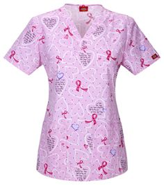 Dickies EDS -Breast Cancer Awareness V-Neck Top in Brave Is Beautiful