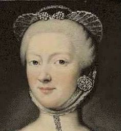 Detail from a portrait of Countess Maria Eustachia Porporato by Maria Giovanna Clementi La Clementina. Isis' Wardrobe: 18th century wired caps