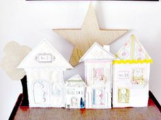 Village Houses  Handmade Fabric Easel Back by littlecottagecrafts, $34.99