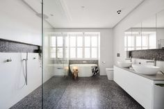 The hits and misses of ensuite reveals from The Block Black terrazzo tile floor in bathroom. Freestanding bath under window with plantation shutters Bath Under Window, Bath Window, The Block, Terrazzo Flooring, Bathroom Flooring, Bad Inspiration, Bathroom Inspiration, Bathroom Trends, Bathroom Updates