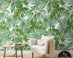 Vintage Leaves Removable Wallpaper Watercolor wall by loveCOLORAY