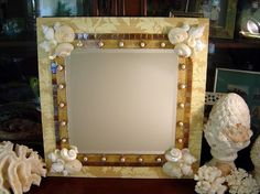 Shell and Coral Mirror Beach Decor with by PinkPelicanDesigns, $150.00