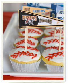 Baseball team logo cupcakes