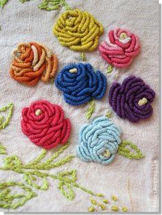 bullion stitch roses