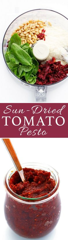Homemade Sun-dried tomato pesto | Actually made this...Lawd Have Mercy, this stuff is so good! I will be blowing my grocery budget on pine nuts and sundried tomatoes.... #literallyateitoutofthefoodprocessor #noshameIdidthat