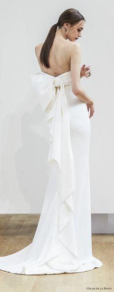 oscar de la renta spring 2018 bridal strapless straight across neckline ruched bodice simple clean elegant sheath column wedding dress ribbon back sweep train (09) mv -- Oscar de la Renta Spring 2018 Wedding Dresses #wedding #bridal #weddingdress