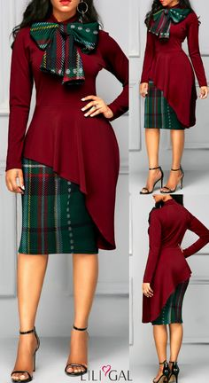 79 Wine Red Long Sleeve Bowknot Neck Patchwork Dress at Diyanu – Corporate dress Short African Dresses, Latest African Fashion Dresses, African Print Fashion, Women's Fashion Dresses, African Fashion Traditional, Classy Winter Outfits, Patchwork Dress, African Attire, Professional Dresses