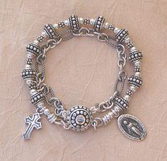 Sterling Silver Rosary Bracelet  Double Strand by KCofKC on Etsy, $125.00