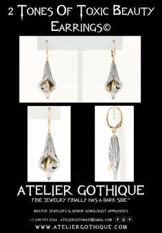 2 Tones of Toxic Beauty© Fine Custom Jewelry Gothic Alternative Fetish Lilly Fashion Earring Gold