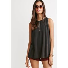 Forever 21 Round Neck Trapeze Top (€16) ❤ liked on Polyvore featuring tops, black top, black sleeveless top, trapeze top, black swing top and sleeveless tops