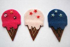 Felt Ice Cream Mini Magnet Set  by NoranekoAlley on Etsy, $4.45
