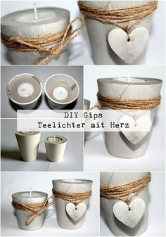 DIY plaster / concrete tealight holder with a heart just make yourself - DIY Deko - DIY plaster / concrete tealights with heart + instructions: DIY, crafts, DIY, craft ideas, decorati - Creation Bougie, Diy Plaster, Concrete Candle Holders, Concrete Furniture, Concrete Crafts, Gypsum, Diy Home Crafts, Creative Crafts, Yarn Crafts