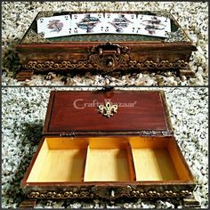 This antique finish storage box is designed specifically to house a standard deck of playing cards and makes a very classy statement, so it can easily be used as a beautification in a game room or anywhere else where you gather to play cards. If you're looking for exceptional gifts for anyone who loves to play cards, then this Handmade Wooden Storage Box for Playing Cards is a great choice. Made of fine quality pine wood with antique metal lock. #artsandcrafts #artsandcrafts #craftsofindia #