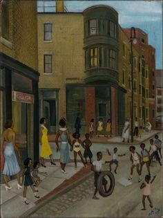 Allan Rohan Crite:  Tire Jumping in Front of My Window (1936-1947)