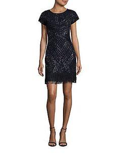 Aidan Mattox Sequin Embellished Dress - Slate - Size