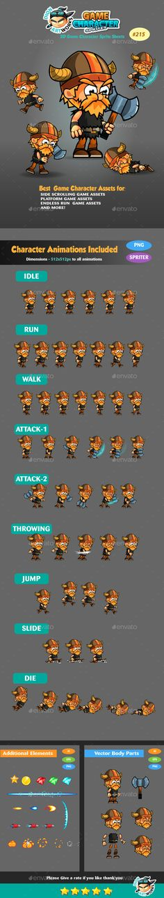 Viking 2D Game Character Sprites 215 — Vector EPS #ipad #cute • Available here → https://graphicriver.net/item/viking-2d-game-character-sprites-215/16127920?ref=pxcr