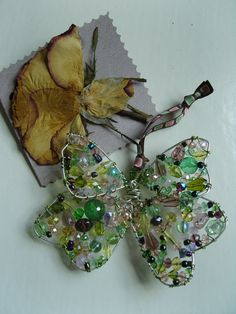 Glass Butterfly Beaded Suncatcher