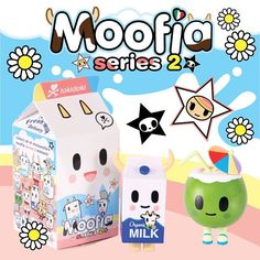 Happy Mooo-nday  Our #Moofia family is back and with more mooo-velous friends! Each collectible figure comes in its own milk carton-shaped #blindbox, so opening them is half (and half!) the fun.  Available at www.shop.tokidoki.it and Melrose store. #tokidoki #tokidokibrand #simonelegno #moofiaseries2 #vinyltoys #kawaii