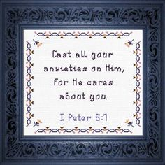 He Cares - I Peter Quick Stitch Promises - Small Inspirational Cross Stitch Designs Mini Cross Stitch, Cross Stitch Charts, Cross Stitch Designs, Spiritual Growth, Spiritual Quotes, Bible Encouragement, Jesus Saves, Scripture Verses, Easy Gifts