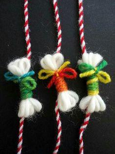 Kid Art, Art For Kids, Baba Marta, Christmas Crafts, Christmas Ornaments, Mother's Day Diy, Craft Activities For Kids, Felt Art, Crochet Accessories