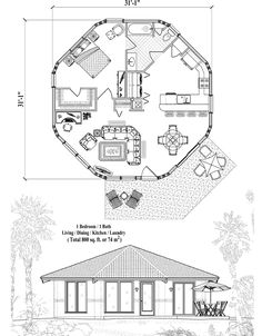, 1 Bedrooms, 1 Baths, Patio Collection by Topsider Homes Round House Plans, Small House Plans, Home Design Floor Plans, House Floor Plans, Earthship Plans, Yurt Home, Octagon House, Model House Plan, Small Tiny House