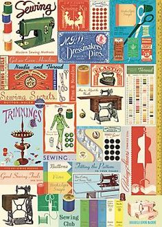 Cavallini Vintage Sewing & Notions Wrapping Paper
