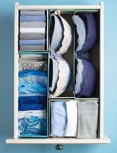 Organize drawers with shoe boxes and lids cut to fit. [7 Simple Storage Hacks That Cost $0]