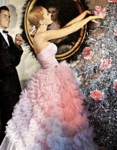 Silverline tinsel tree and a strapless merengue dress...