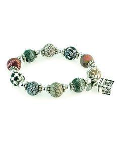 NEW JILZARA Clay Beads LATTE BROWN CHARM Pendant Necklace KEY LOCK HEART
