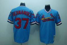 #37 Mitchell and Ness Cardinals Keith Hernandez Stitched Blue Throwback Baseball Jersey