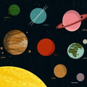 Solar System Wall Hanging by Andrea Lauren fabric by andrea_lauren on Spoonflower - custom fabric Powder Room Wallpaper, Solar System Planets, Custom Fabric, Fabric Shop, Fabulous Fabrics, Surface Design, Spoonflower, Fabric Design, Andrea Lauren