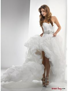 Buy Custom Made High Quality New Fashion! High-Low Ball Gown Sweetheart Crystal Belt Organza Unusual Wedding Dresses UWD20426 at wholesale cheap prices from Bridal-Buy.com