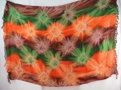 green orange brown star burst tie dye sarong bathing suit sarong $5.25 - http://www.wholesalesarong.com/blog/green-orange-brown-star-burst-tie-dye-sarong-bathing-suit-sarong-5-25/