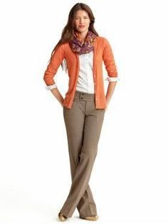 This is a sharp outfit that comes together easily. Coral cardigan, white shirt, beige or brown pants, and I'd want ballet flats to match the sweater and go with coral in the scarf.