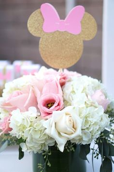Floral arrangement from a Glamorous Floral Minnie Mouse Birthday Party on Kara's Party Ideas | KarasPartyIdeas.com (9)