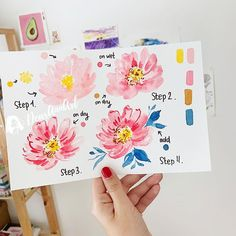 Watercolor Beginner, Watercolor Art Lessons, Watercolor Paintings For Beginners, Step By Step Watercolor, Beginner Painting, Painting Lessons, Painting Tips, Artist Painting, Watercolor Flowers Tutorial