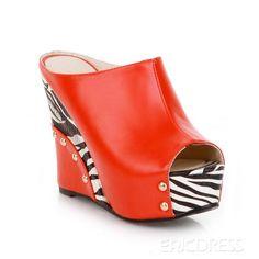 Pretty PU Peep Toe Wedge Heels Women Shoes