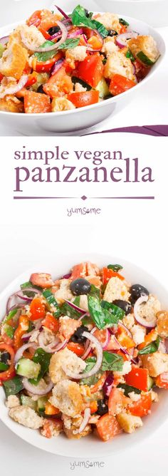 Panzanella (Tuscan bread salad) is the epitome of spring and summer. It's super-easy to make, and is a great way to use up stale bread. | yumsome.com via @yums0me