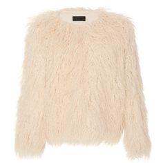 Nili Lotan     Lena Faux Mongolian Fur Jacket ($1,295) ❤ liked on Polyvore featuring outerwear, jackets, ivory, faux-leather jacket, white winter jacket, faux fur jacket, nili lotan and fur jacket