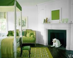 Note the child's rocking lamb. Delphine & Reed Krakoff's East Hampton House Photos Green Bedroom Design, Bedroom Green, Bedroom Decor, White Bedroom, Bedroom Furniture, Bedroom Ideas, Living Room Designs India, Rugs In Living Room, Hamptons House
