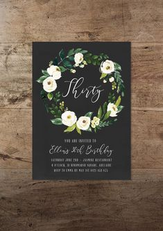30th Birthday Invitation Printable 21st Floral Boho Modern Hipster Minimal Wreath