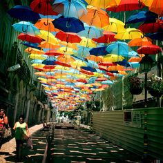 Colorful Umbrellas in Portugal; Agitagueda festival in Portugal, the streets of the city of Agueda Umbrella Street, Umbrella Art, Colorful Umbrellas, Parasols, Canopy Cover, Floating, Urban Life, Art Festival, Oh The Places You'll Go