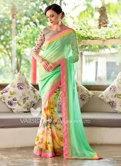 Green, Peach & Yellow Georgette Saree ,Indian Dresses - 1