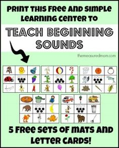print this free and simple learning center to teach beginning sounds the measured mom Free beginning sounds activities five more match mats! Teaching Letters, Preschool Letters, Letter Activities, Language Activities, Reading Activities, Teaching Reading, Phonics Activities, Educational Activities, Beginning Reading